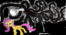 Size: 1373x734 | Tagged: safe, artist:zxcvsaw, fluttershy, creepy, slendermane