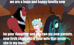 Size: 963x587 | Tagged: safe, edit, edited screencap, screencap, cozy glow, lord tirek, queen chrysalis, the beginning of the end, daddy tirek, mommy chrissy