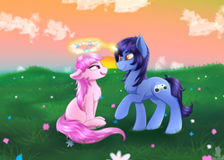 Size: 2000x1433 | Tagged: safe, artist:monsoonvisionz, oc, earth pony, pony, unicorn, chest fluff, cloud, colored pupils, commission, ear fluff, eye contact, female, field, floral head wreath, flower, fluffy, grass, leg fluff, levitation, lidded eyes, looking at each other, magic, male, mare, oc x oc, open mouth, raised hoof, shading, shipping, shoulder fluff, smiling, stallion, straight, telekinesis