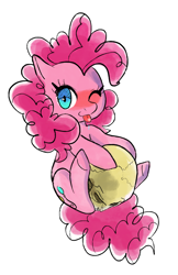 Size: 2818x4337 | Tagged: safe, artist:fluffleart, pinkie pie, earth pony, pony, cute, diapinkes, female, one eye closed, simple background, skull, solo, tongue out, white background, wink
