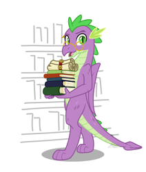 Size: 1724x2036 | Tagged: safe, artist:camo-pony, derpibooru exclusive, spike, dragon, book, bookshelf, glasses, older, older spike, quill, scroll, simple background, solo, white background, winged spike