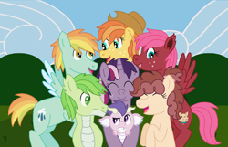 Size: 1050x676 | Tagged: safe, artist:miss-barker, oc, oc only, oc:emerald shine, oc:libra, oc:lightning flash, oc:marshmallow fluff, oc:paula red, oc:spiny, oc:tarte tatin, dracony, dragon, earth pony, hybrid, pegasus, pony, unicorn, adopted offspring, cowboy hat, eyes closed, fangs, female, freckles, group photo, happy, hat, hug, interspecies offspring, looking at each other, magical lesbian spawn, male, mare, next generation, offspring, parent:applejack, parent:big macintosh, parent:cheese sandwich, parent:coloratura, parent:fluttershy, parent:pinkie pie, parent:rainbow dash, parent:rarity, parent:soarin', parent:spike, parent:tempest shadow, parent:twilight sparkle, parents:cheesepie, parents:fluttermac, parents:soarindash, parents:sparity, parents:tempestlight, raised eyebrow, smiling, stallion