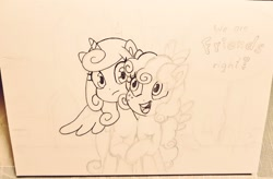 Size: 1024x671   Tagged: safe, artist:fipoki, cozy glow, princess flurry heart, alicorn, pegasus, pony, female, filly, older, older cozy glow, older flurry heart, unfinished art