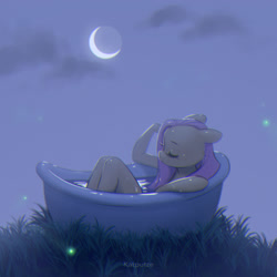 Size: 2126x2126 | Tagged: safe, artist:katputze, fluttershy, anthro, firefly (insect), insect, bath, bathing, bathtub, crescent moon, eyes closed, female, floppy ears, grass, moon, night, solo, wet, wet mane