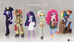 Size: 2560x1440 | Tagged: safe, artist:howxu, applejack, fluttershy, pinkie pie, rainbow dash, rarity, twilight sparkle, equestria girls, axe, boxes, cap, clipboard, clothes, coronavirus, covid-19, face mask, female, firefighter, food stand, hat, helmet, humane five, lab coat, mane six, nurse, nurse outfit, pants, police officer, police uniform, post office, raricop, researcher, scientist, shoes, sitting, surgical mask, text, twilight sparkle (alicorn), weapon, worker
