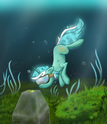 Size: 1854x2160 | Tagged: safe, artist:wevepon3, lyra heartstrings, pony, unicorn, bubble, cute, female, grass, high res, looking down, mare, solo, swimming, underwater, water