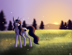 Size: 3075x2365 | Tagged: safe, artist:sadatrix, oc, oc:summer lights, pony, unicorn, female, glasses, mare, solo, sunset
