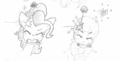 Size: 1280x645 | Tagged: safe, artist:fipoki, pinkie pie, earth pony, human, bowtie, eyes closed, hitting, open mouth, pencil drawing, rock, sketch, stars, traditional art