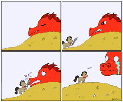 Size: 1000x833 | Tagged: safe, artist:empyu, filthy rich, dragon, 30 minute art challenge, 4 panel comic, bits, chibi, coin, crying, money, simple background, sword, weapon, white background