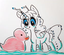 Size: 2268x1947 | Tagged: safe, artist:smirk, oc, oc:orchid, kaiju, kaiju pony, cute, doodle, giant duck, rubber duck, solo, traditional art, whiteboard