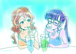Size: 1379x990 | Tagged: safe, artist:5mmumm5, sci-twi, sunset shimmer, twilight sparkle, equestria girls, equestria girls series, blushing, drink, drinking, female, glasses, lesbian, ponytail, scitwishimmer, shipping, sleeveless, sunsetsparkle