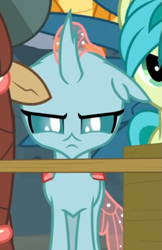 Size: 379x584 | Tagged: safe, screencap, ocellus, school daze, cropped, determined, narrowed eyes, ocellus is not amused, offscreen character, solo, unamused