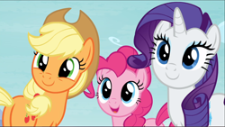 Size: 1666x941 | Tagged: safe, screencap, applejack, pinkie pie, rarity, school daze, butt, cropped, cute, diapinkes, jackabetes, plot, raribetes, smiling, trio