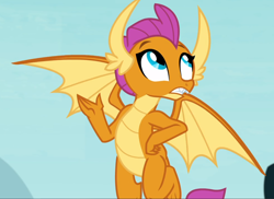 Size: 1284x936 | Tagged: safe, screencap, smolder, school daze, cropped, flying, hand on hip, solo, spread wings, wings