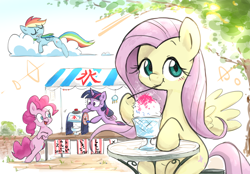 Size: 2298x1600 | Tagged: safe, artist:nendo, fluttershy, pinkie pie, rainbow dash, twilight sparkle, alicorn, earth pony, pegasus, pony, blushing, bowl, cloud, crepuscular rays, cute, dessert, drool, female, folded wings, hoof hold, ice cream stand, japanese, leaning, lens flare, looking at you, mare, nap, on a cloud, outdoors, shaved ice, shaved ice machine, shyabetes, sitting, sleeping, smiling, solo focus, spoon, spread wings, street, summer, table, three quarter view, tree, twilight sparkle (alicorn), vendor, vendor stall, wings