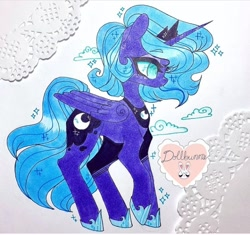Size: 720x677 | Tagged: safe, artist:dollbunnie, princess luna, alicorn, cloud, crown, jewelry, marker drawing, regalia, s1 luna, solo, traditional art, young, young luna, younger