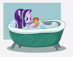 Size: 1400x1100 | Tagged: safe, artist:mew-me, starlight glimmer, sunburst, bath, bathtub, bubble bath, claw foot bathtub, cute, foam, glimmerbetes, rubber duck, toy, wet, wet mane