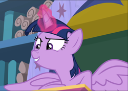 Size: 1324x941 | Tagged: safe, screencap, twilight sparkle, alicorn, a matter of principals, cropped, glowing horn, horn, smiling, solo, spread wings, twilight sparkle (alicorn), wings