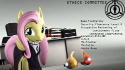 Size: 1920x1080   Tagged: safe, artist:backmaker, fluttershy, pegasus, 3d, clothes, fluttergoth, jewelry, necklace, scp foundation, scp-131, source filmmaker