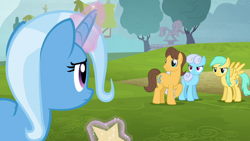 Size: 1280x720 | Tagged: safe, screencap, caramel, linky, shoeshine, sunshower raindrops, trixie, earth pony, pegasus, unicorn, no second prances, angry, female, glare, magic, magic aura, male, mare, stallion, telekinesis