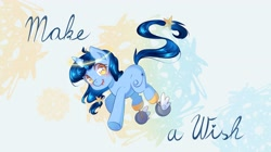 Size: 4096x2300 | Tagged: safe, artist:patchnpaw, pony, unicorn, blushing, female, freckles, galacon, looking at you, make a wish foundation, mare, open mouth, smiling, solo, underhoof, wheel