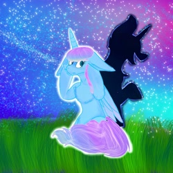 Size: 1080x1080 | Tagged: safe, artist:bellas.den, oc, oc only, alicorn, pony, shadow pony, alicorn oc, duo, female, grass, horn, laughing, mare, night, outdoors, stars, wings