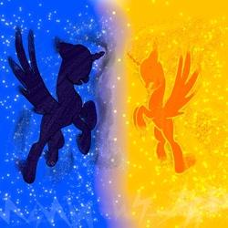 Size: 1080x1080 | Tagged: safe, artist:bellas.den, oc, alicorn, pony, alicorn oc, duo, horn, rearing, wings