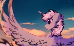 Size: 1600x1000 | Tagged: safe, artist:mirtash, oc, oc only, alicorn, pony, alicorn oc, horn, solo, wings