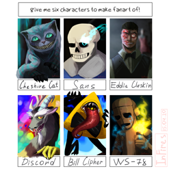 Size: 2000x2025 | Tagged: safe, artist:infiresai, discord, cat, draconequus, human, robot, six fanarts, alice in wonderland, bill cipher, bone, bowtie, bust, cheshire cat, crossover, don't starve, eddie gluskin, gravity falls, grin, lighter, male, outlast, sans (undertale), sharp teeth, skeleton, smiling, sombra eyes, teeth, tongue out, undertale, wx-78