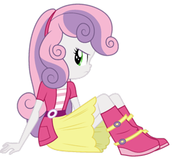 Size: 824x782 | Tagged: safe, artist:cloudyglow, artist:nightred15, edit, edited edit, vector edit, sweetie belle, equestria girls, rainbow rocks, angry, background removed, belt, boots, clothes, jacket, shirt, shoes, simple background, sitting, socks, solo, transparent background, vector