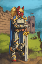 Size: 800x1200 | Tagged: safe, artist:lexx2dot0, big macintosh, anthro, alternate hairstyle, armor, executioner sword, freckles, knight, male, solo, sword, weapon