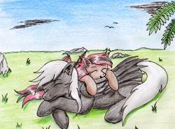 Size: 2344x1739 | Tagged: safe, artist:40kponyguy, derpibooru exclusive, oc, oc:alex sinfalair, oc:scarlet dusk, bat pony, pegasus, cute, ear fluff, female, grass, male, mare, requested art, sleeping, stallion, traditional art
