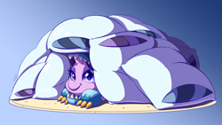 Size: 1920x1080 | Tagged: safe, artist:esfelt, starlight glimmer, pony, board game, colored pupils, cute, dragon costume, dragon pit, female, glimmerbetes, looking at you, mare, pillow, pillow fort, prone, solo