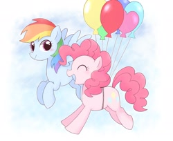 Size: 2048x1669 | Tagged: safe, artist:tstivv, pinkie pie, rainbow dash, earth pony, pegasus, pony, balloon, cute, duo, eyes closed, female, floating, mare, open mouth, profile, sky, then watch her balloons lift her up to the sky