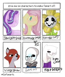 Size: 720x857 | Tagged: safe, artist:sakuraoh0lic, starlight glimmer, fox, goat, pegasus, pony, unicorn, six fanarts, blushing, bone, bust, clothes, crossover, female, flower, flowey, mare, one eye closed, sans (undertale), simple background, skeleton, smiling, the fox and the hound, toriel, undertale, white background, wingding eyes, wink