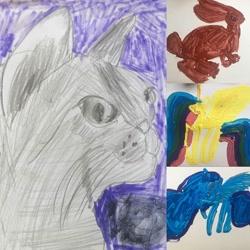 Size: 1080x1080 | Tagged: safe, artist:majida.tur, princess luna, oc, alicorn, cat, pony, rabbit, animal, barely pony related, bust, female, mare, raised hoof, traditional art