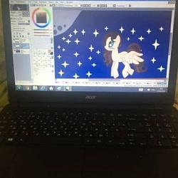 Size: 704x704 | Tagged: safe, artist:majida.tur, oc, oc only, pony, computer, flying, full moon, irl, moon, night, photo, solo, stars