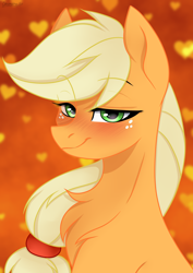 Size: 2894x4093 | Tagged: safe, artist:chickenbrony, artist:cottonaime, applejack, earth pony, pony, bedroom eyes, blushing, chest fluff, cute, green eyes, hatless, heart, high res, jackabetes, looking at you, missing accessory, solo