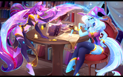 Size: 3600x2280 | Tagged: safe, artist:koveliana, trixie, twilight sparkle, alicorn, anthro, unguligrade anthro, unicorn, alternate clothes, belly button, bits, book, bookhorse, bookshelf, bracelet, candle, candlelight, chair, chest fluff, coin, colorful, duo, duo female, eyes closed, female, floating, fluffy, glow, glowing hands, grin, hoof fluff, jewelry, leg fluff, library, lidded eyes, map, mare, night, regalia, reunited, sitting, smiling, sparkles, spread wings, table, twilight sparkle (alicorn), unshorn fetlocks, window, wing fluff, wings