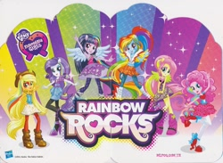 Size: 1600x1169 | Tagged: safe, applejack, fluttershy, pinkie pie, rainbow dash, rarity, twilight sparkle, equestria girls, rainbow rocks, shake your tail, applejack's hat, book, boots, cowboy hat, female, hand gesture, hat, humane five, humane six, merchandise, multicolored hair, ponied up, poster, rainbow hair, shoes, the rainbooms, turkish, wings