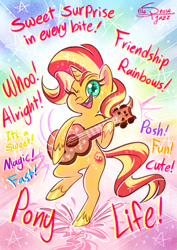 Size: 2893x4092 | Tagged: safe, artist:snowballflo, sunset shimmer, pony, unicorn, my little pony: pony life, cute, female, guitar, mare, musical instrument, one eye closed, shimmerbetes, singing, smiling, solo, theme song, wink