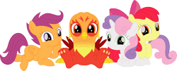 Size: 3555x1437 | Tagged: safe, artist:porygon2z, screencap, apple bloom, scootaloo, sweetie belle, oc, oc:heatwave, griffon, hippogriff, cutie mark crusaders, fledgeling, simple background, transparent background