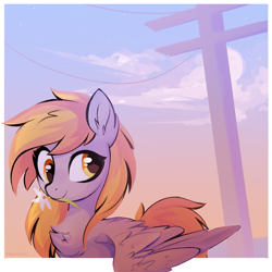 Size: 1499x1499 | Tagged: safe, artist:aureai, derpy hooves, pegasus, pony, bust, chest fluff, ear fluff, female, flower, flower in mouth, happy, looking back, mare, mouth hold, power line, scenery, signature, smiling, solo, spread wings, sunset, wing fluff, wings