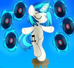 Size: 2048x1877 | Tagged: safe, artist:agkandphotomaker2000, dj pon-3, vinyl scratch, pony, unicorn, levitation, magic, pose, raised leg, seat, show accurate, simple background, solo, telekinesis, vinyl disc