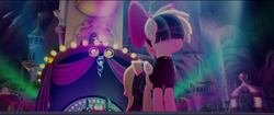 Size: 1920x808 | Tagged: safe, screencap, dj pon-3, songbird serenade, vinyl scratch, pegasus, my little pony: the movie, female, folded wings, sia (singer), speakers, spotlight, turntable, wings