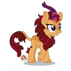 Size: 2550x2550 | Tagged: safe, artist:firehearttheinferno, oc, oc only, oc:summer ardor, kirin, fallout equestria, brown mane, cloven hooves, concept for a fanfic, cream coat, cute, fallout, fallout equestria: burdens, female, for a friend, gift art, grin, happy, horn, leonine tail, mare, pink, purple, purple eyes, purple highlights, scales, simple background, smiling, solo, transparent background, watermark, yellow
