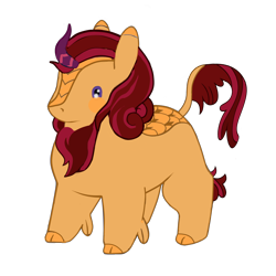 Size: 2400x2400 | Tagged: safe, oc, oc:summer ardor, kirin, blushing, brown mane, chibi, chubby, cloven hooves, cream coat, cute, fallout, fallout equestria: burdens, female, for a friend, happy, horn, leonine tail, mane, mare, pink, potat pone, purple, purple eyes, purple highlights, scales, simple background, solo, transparent background, yellow