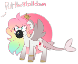 Size: 3794x3121   Tagged: safe, artist:crazysketch101, oc, oc only, commission, magic 8 ball, no, simple background, solo, white background, ych result
