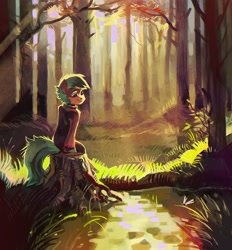 Size: 1496x1613 | Tagged: safe, artist:dearmary, oc, oc only, earth pony, semi-anthro, forest, solo, tree, tree stump