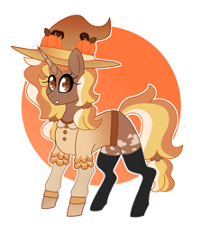 Size: 2242x2516 | Tagged: safe, artist:crazysketch101, oc, oc only, oc:pumpkin witch, pony, unicorn, clothes, female, hat, mare, simple background, solo, stockings, thigh highs, white background, witch, witch hat
